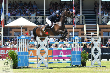 Katie Clarke from Mortlake in Victoria rode her super Ulixes gelding, 'Oaks Gunn' to take third place in the Thomas Foods International CSI*-World Cup Qualifier.