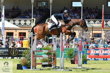Representing New Zealand, Hayley Frielick rode her Thoroughbred gelding, 'Class Action LP' by With Class to take fifth place in the Mitsubishi CCI Four Star.