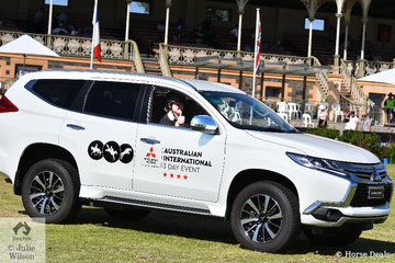 Its thumbs up from winning rider, Hazel Shannon as she drives off in part of the Mitsubishi CCI Four Star prize package, a Mitsubishi Pajero Sport.