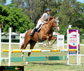 12 Year old Lachelle MacFarlane and recently acquired Immenhof Fame (formally from the Bates Stables) a 14 year old Warmblood Mare competed in the 70cm class on Saturday