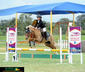Young gun Finnigan Bazzan piloted his mare Sunny around the 70cm
