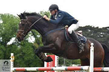 Adam Johnston rode his home bred and produced, 'Up' to take ninth place in the Wellington Livestock Mini Prix.