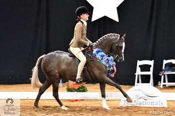 Successful young show rider, Kate Kyros claimed the Child's Medium Show Hunter Pony Championship for South Australia riding the Victorian bred and well performed, 'Owendale Beesting'.