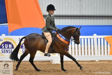 Jenna Hall claimed the Child's Medium Show Hunter Pony Runner Up award for Western Australia riding, 'Gem Park Debonare'.