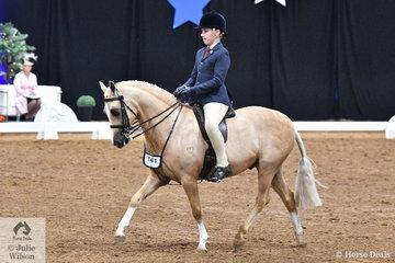 Representing Queensland, Jack Jackson rode Carmen Jackson's charming, 'Elvonara Park Kandyman' to take third place in the Child's Large Show Hunter Pony Championship.
