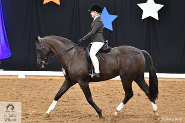 Shilo Harvey representing NSW rode her 'New World Riverman' to take third place in the Child's Small Show Hunter Championship.