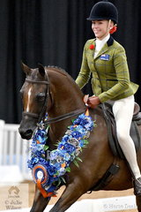 """""""Winners are grinners"""" and successful Victorian rider, Izabella McIntyre looks delighted to have claimed the Child's Small Show Hunter Galloway Championship with Blaine Perkins' well performed, 'Meteor Showers'."""