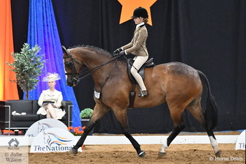 A big horse for a little girl, but South Australian rider, Kate Kyros produced the winning workout to claim the Child's Large Show Hunter Hack Championship with Alana Richards' well performed, 'Ribbleton France'.