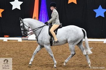Representing South Australia, Victoria Fricker rode, 'Silver Moon' to produce a foot perfect workout for third place in the Child's Large Show Hunter Hack Championship.