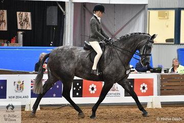 Riding for Queensland, Tahnaya Ferris rode her, 'AATC Kracker Jack' to take out the Child's Large Show Hunter Hack Runner Up award.