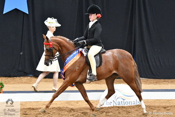 Ella Manning rode Catherine Gale's well performed, 'Newington Tinkerbell' to claim the Child's Small Pony Runner Up award for South Australia.
