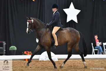 Representing Queensland, Paige Sinnamon rode her, 'Carlton Park Formality' to take third place in the Child's Small Hack Championship.