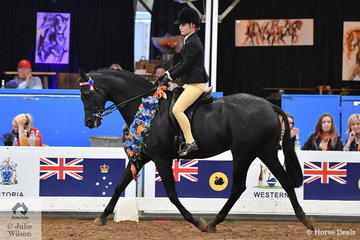Caitlin Fricker rode her delightful, 'Manorvale After Five' to claim the Child's Small Hack Championship for South Australia.