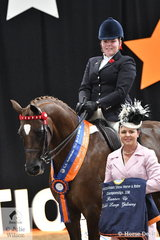 Orleans Graetz representing Western Australia rode her , 'Argyl Fine Art' to claim the Runner Up award in the Child's Large Galloway Championship. She is pictured with 2018 judge, Marcia Beard.