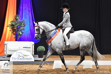 Poppi Plumb rode Christine Nicols' very well performed, 'Mirinda Alabaster' to take the Child's Large Pony Championship Runner Up award for Victoria.