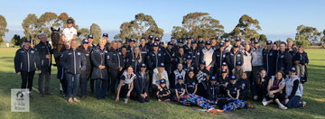 It takes a village to bring up a child and apparently it takes a village to mount a state team for the Nationals. The Victorian crew in all their glory pose for a photograph on day one of the 2018 Australasian Show Horse and Rider Championships.