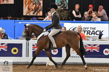 Representing Victoria, Daizi Plumb rode Corinne Collins' well performed, 'Bordershow Boy Scout' to take third place in the National Small Pony Championship.
