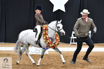 """""""Ride it like you stole it"""", Paul Austin seems to be saying.  Queensland equestrian personality extraordinaire and coach, Paul Austin was on the end of the lead with Bronte Raymont riding Kyle Raymont's, 'Nawarrah Park Belladonna' to claim the 2018 National Leading Rein Show Hunter Pony Championship."""