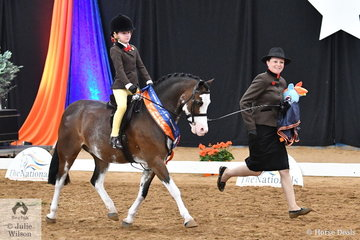 Representing South Australia, Maison Hunt rode her own and Andrea Merry's wonderfully eye catching, 'Splash Dance' and with a little help from mum, Charlie Hunt, they took out the National Leading Rein Show Hunter Pony Runner Up award.