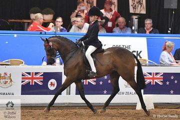 Mackenzie Thompson representing Queensland rode Alexia Fraser's, 'Beckworth Charming Dream' to claim the 2018 National Medium Pony Championship.