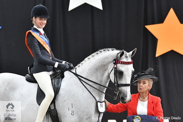 Jessica Dertell representing Victoria rode well to take out the Intermediate Rider 12-14 Years Runner Up award. Jessica is pictured with judge, Denise Fenwick.