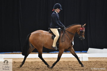 Representing Tasmania, Danielle Zeiser rode Jessica Campbell's, 'Lyndhurst China Doll' to take third place in the National Large Pony Championship.