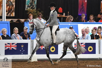 Representing Victoria, Daizi Plumb rode  Christine Nichols' beautiful Victorian bred, 'Mirinda Alabaster' to claim the 2018 National Large Pony Championship.