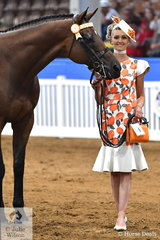 A glamorous, Rebekah Carrolan, pictured with 'Aston Martin II' won the off The Track Thoroughbred Fashions In The Field class conducted on Friday evening at the 2018 Australasian Show Horse and Rider Championships.