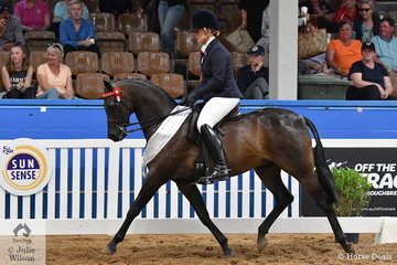 Representing NSW, Taylah Hutchinson rode her, 'Burnbrae Park Talisman' to take third place in the National Small Galloway Championship.