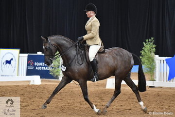Successful South Australian representative, Samantha Kennedy rode her, 'Yindala Park Twilight' to take third place in the Large Show Hunter Galloway Championship. Sam had a successful day and went on to also take third place in the Senior Rider Championship.