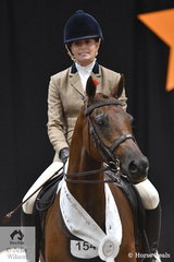 """Celeste Mills representing WA  rode her 'Wynara Red Hot Special"""" to third place in the Show Hunter Galloway Championship over 14hh and NE 14.2hh."""