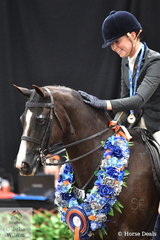 Representing Queensland, a delighted Mikayla Vankampen rewards Amanda Edwards', 'Saravale Focused' after claiming back to back Small Show Hunter Galloway Championships.