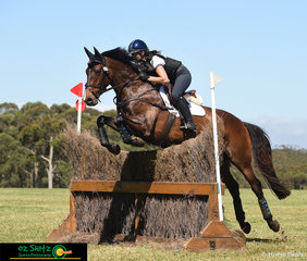 Travelling all the way from Brisbane, Olivia McDermott competes and takes the win on her 8 year old Warmblood x Thoroughbred gelding, Gorserella Tuxedo in the EvA95 Division A at the Wallaby Hill International Three Day Event..