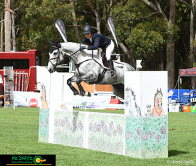 Sitting in 6th place after their dressage, Nicki Lyle and Winter Hill moved to the top of the leaderboard after their run out on cross country and continued to jump a clear round to secure their win in the EvA105 class at the Wallaby Hill International Three Day Event..