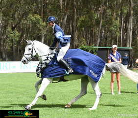 Ecstatic with their win in the EVA105 Junior Class and finishing on thier dressage score was combination Matilda Seppelt and Tsarina at the Wallaby Hill International Three Day Event.
