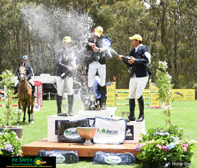 Champagne sprays were had for Queensland rider, Matthew Gaske after he took out the win in the CCI One Star at the Wallaby Hill Three Day Event.