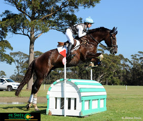 Coming out in fit form of the first EvA105 water complex at the Wallaby Hill Three Day Event was KPH Kingfisher with Emma Mason in the saddle..