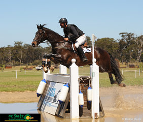 Competing in the CCI Three Star, Murray Lamperd and Paihia Wilhelm make light work over Excel Earthworks Water complex on the second day of the Wallaby Hill Three Day Event.