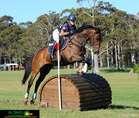 Camilla Warner and Snowy Mountains Delight handled the EvA95 cross country phase with ease at the 2018 Wallaby Hill International Three Day Event..