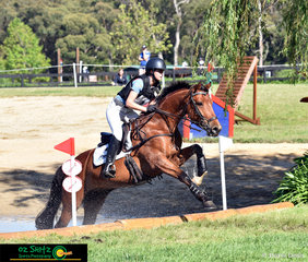 Leaping up and out of the EvA105 McCarroll's Water and Beach House was Olivia Barton and Aph Andre at the Wallaby Hill International Three Day Event.