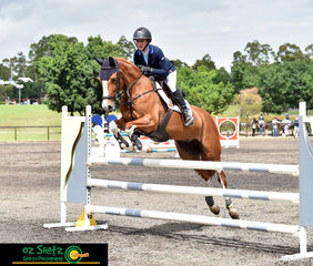 Travelling down from Kilcoy, Queensland to compete in the Open 90-1.00m class was Olivia Hamood and Minx GHP and they jumped a clear round at the Summer Show Jumping Classic in Sydney.