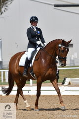 Tamara Campain riding Bon Chance placed 3rd in the 6 yr old Young Horse Class.