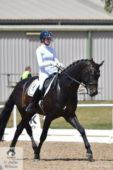 Maree Tomkinson rode the stallion, Furst Delux to win the 6 yr old Young Horse Class with a score of 84.2..