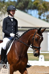 Caitlin Scott rode Furstineur DP to second place in the 6 yr old Young Horse Class.