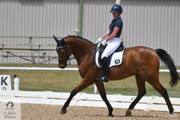 Kate Sheffield rode Everton Rockwell to fourth place in the 6 yr old horse class, on the very hot first day of the Victorian Dressage Championships.