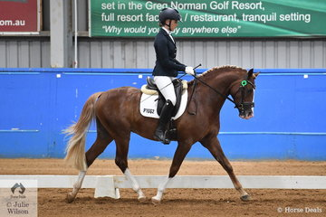 Faye Hinchliffe rode Siobhan Belmore's, German Riding Pony Stallion, Belmore Park Perfect Timing to take out the Preliminary Pony Reserve Championship.