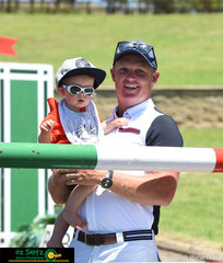 The future generation of showjumpers start their training early, Hudson Kermond pictured here with Dad, Jamie during the Future Stars course walk..