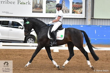 Charlotte Pedersen rode the imported Danish stallion, Baunehojens Diamond Dancer to second place with 69.6% in the Werribee Isuzu & Longvue Prix St George.
