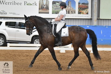 Justine Greer rode Jaybee Cavalier to third place in the Werribee Isuzu & Longvue Prix St George with a score of 68.9%.