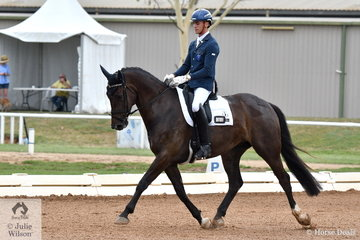 Stuart Archibald rode Woodleigh Remember Me to fourth place in the 5 yo Young Horse class.
